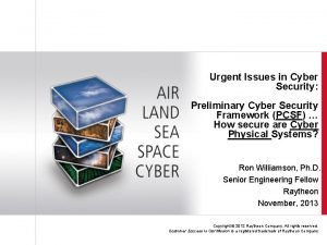 Urgent Issues in Cyber Security Preliminary Cyber Security