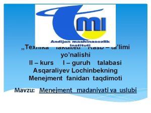 Texnika fakulteti Kasb talimi yonalishi II kurs I