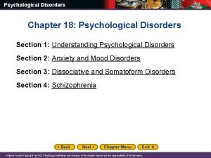 Psychological Disorders Chapter 18 Psychological Disorders Section 1