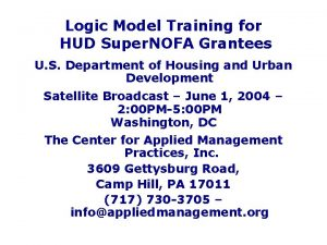 Logic Model Training for HUD Super NOFA Grantees