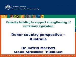 Capacity building to support strengthening of veterinary legislation