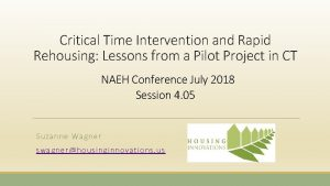 Critical Time Intervention and Rapid Rehousing Lessons from