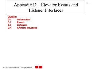 Appendix D Elevator Events and Listener Interfaces Outline