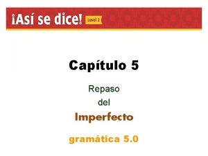 Captulo 5 Repaso del Imperfecto gramtica 5 0