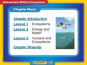 Chapter Introduction Lesson 1 Ecosystems Lesson 2 Energy