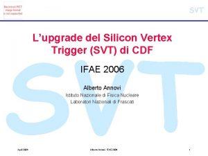 SVT Lupgrade del Silicon Vertex Trigger SVT di