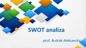 SWOT analiza prof Budrak Aleksandra SWOT analiza je