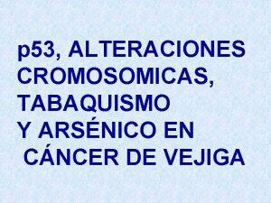 p 53 ALTERACIONES CROMOSOMICAS TABAQUISMO Y ARSNICO EN