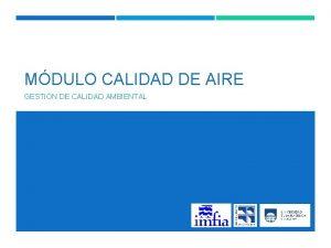 MDULO CALIDAD DE AIRE GESTIN DE CALIDAD AMBIENTAL