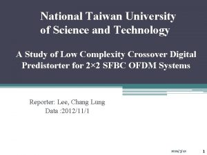 National Taiwan University of Science and Technology A