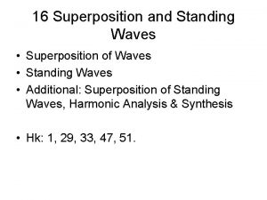 16 Superposition and Standing Waves Superposition of Waves