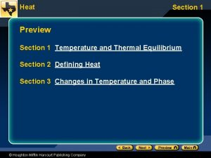 Heat Section 1 Preview Section 1 Temperature and