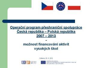 Operan program peshranin spoluprce esk republika Polsk republika