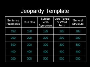 Jeopardy Template Subject Verb Tense General Verb or