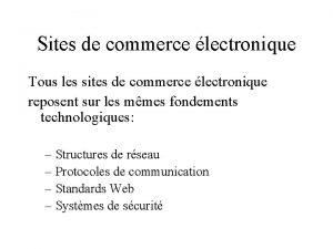 Sites de commerce lectronique Tous les sites de