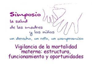 Vigilancia de la mortalidad materna estructura funcionamiento y