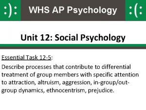 WHS AP Psychology Unit 12 Social Psychology Essential