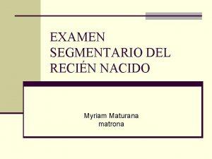 EXAMEN SEGMENTARIO DEL RECIN NACIDO Myriam Maturana matrona