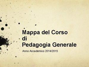 Mappa del Corso di Pedagogia Generale Anno Accademico