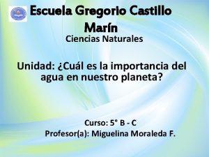 Escuela Gregorio Castillo Marn Ciencias Naturales Unidad Cul