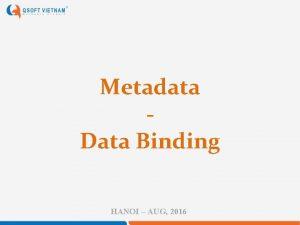 Metadata Data Binding HANOI AUG 2016 Metadata Metadata