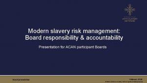 Modern slavery risk management Board responsibility accountability Presentation