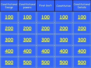 Constitutional Design powers First Govt Constitutional Details 100