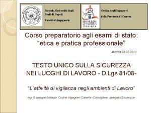 Seconda Universit degli Studi di Napoli Ordine degli