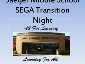 Saeger Middle School SEGA Transition Night Middle School