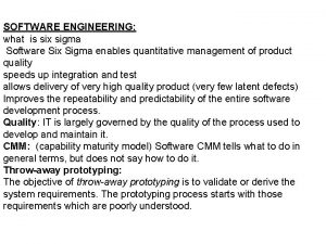 SOFTWARE ENGINEERING what is six sigma Software Six