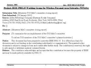 January 2001 doc IEEE 802 15 01074 r