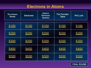 Electrons in Atoms Electrons Atomic Emission Spectra The