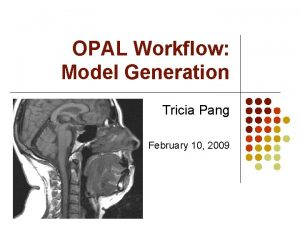 OPAL Workflow Model Generation Tricia Pang February 10