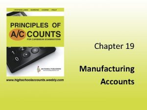 Chapter 19 Manufacturing Accounts Manufacturing Companies A Manufacturing