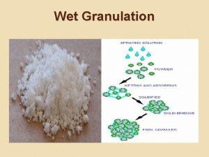 Wet Granulation Wet Granulation The wet granulation technique