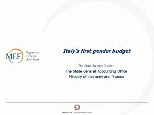 Italys first gender budget The State Budget Division