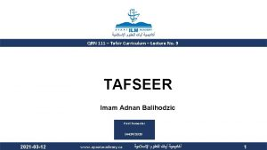 QRN 111 Tafsir Curriculum Lecture No 9 TAFSEER