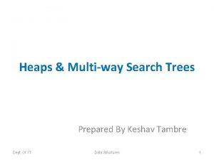Heaps Multiway Search Trees Prepared By Keshav Tambre