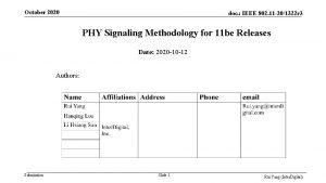 October 2020 doc IEEE 802 11 201322 r