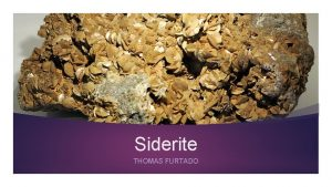 Siderite THOMAS FURTADO What is it Named by