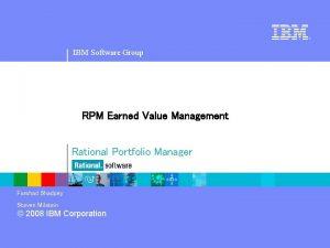 IBM Software Group RPM Earned Value Management Rational