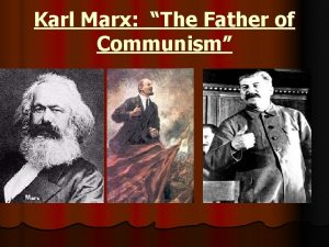 Karl Marx The Father of Communism COMMUNISM A