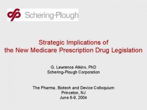 Strategic Implications of the New Medicare Prescription Drug