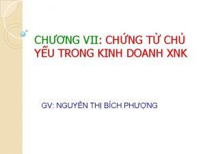 CHNG VII CHNG T CH YU TRONG KINH