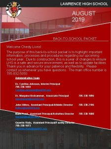 LAWRENCE HIGH SCHOOL AUGUST 2019 BACKTOSCHOOL PACKET Welcome
