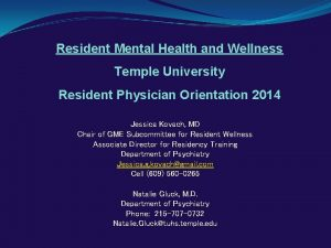 Resident Mental Health and Wellness Temple University Resident