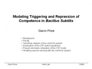 Modeling Triggering and Repression of Competence in Bacillus
