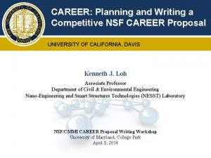 CAREER Planning and Writing a Competitive NSF CAREER