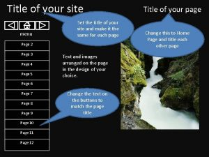 Title of your site menu Set the title
