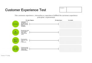 Customer Experience Test Scenario This customer experience interaction